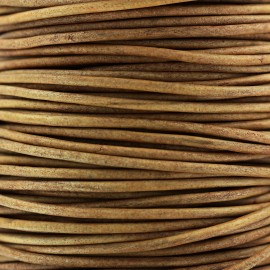 2 mm Rond Leather Strip - Camel
