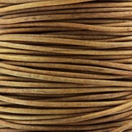 Lacet rond en cuir 2 mm - Camel