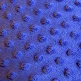 Tissu velours minkee  doux relief à pois bleu navy  x 10cm