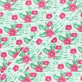 Ruban gros grain fleuri 10 mm - Rouge/vert x 1m