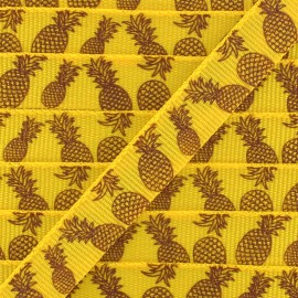 Ruban gros grain ananas 10 mm - Blanc/Jaune x 1m