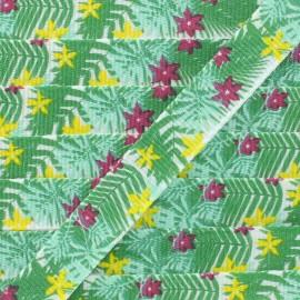 Ruban gros grain fleurs et feuilles 10 mm - Vert/Rouge x 1m