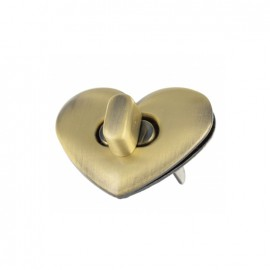 Petit coeur metallic clasp for purse - bronze