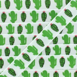 Grosgrain Ribbon cactus 10 mm -  White/Green x 1m