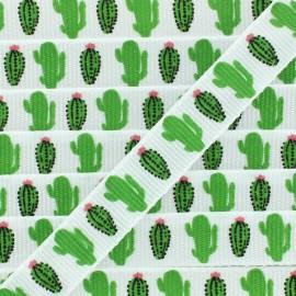 Ruban gros grain cactus 10 mm - Blanc/Vert x 1m