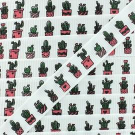 Ruban gros grain cactus en pot 10 mm - Blanc/Vert x 1m