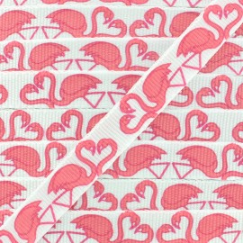 Ruban gros grain flamants rose 10 mm - Blanc/Rose x 1m