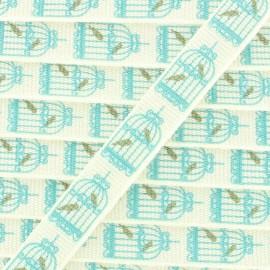 Ruban gros grain cages d'oiseaux 10 mm - Blanc/Bleu x 1m