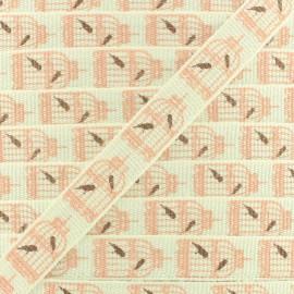 Ruban gros grain cages d'oiseaux 10 mm - Blanc/Rose x 1m