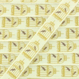 Grosgrain Ribbon Bird Cage 10 mm -  Beige/Gold x 1m