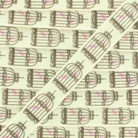 Grosgrain Ribbon Bird Cage 10 mm -  White/Brown x 1m