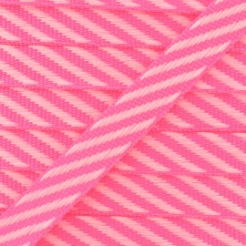 Ruban gros grain rayures 10 mm - Rose Fluo x 1m