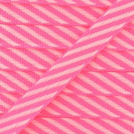 Ruban gros grain rayures 10 mm - Rose Fluo x 1m
