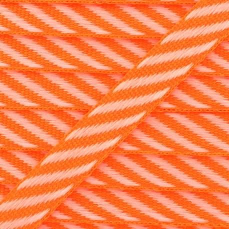 Ruban gros grain rayures 10 mm - Orange Fluo x 1m