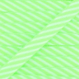 Ruban gros grain Rayures 10 mm - Vert Fluo x 1m