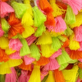 Trimming ribbon fringe pompoms - Fluo x 50cm