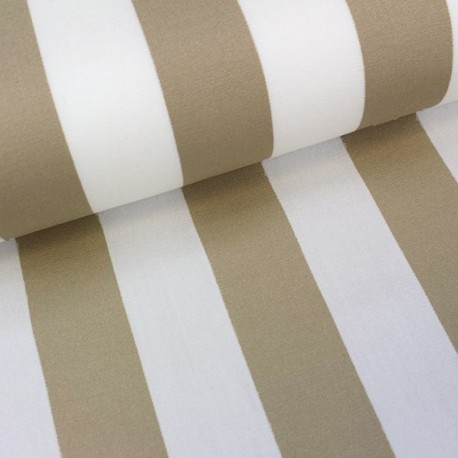 Tissu toile transat Playa rayures blanc/beige (43cm) x 10cm