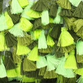 Ruban galon pompons à franges - Vert x 50cm