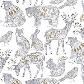 Tissu coton Dashwood Norrland - White x 15cm