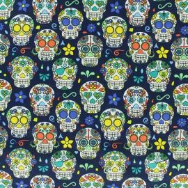 Poppy cotton fabric Happy skulls - navy x 10cm