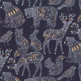 Dashwood cotton fabric Norrland - Navy x 15cm