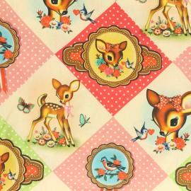 Satiny cotton fabric Diamond Deer - pink x 25cm