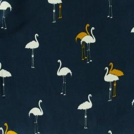 Tissu viscose Smart flamingo - bleu x 10cm