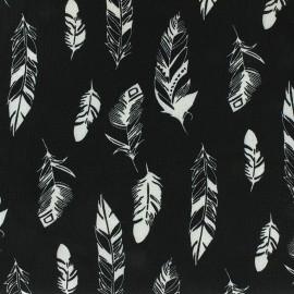 Tissu crêpe Leaf - noir x 10cm