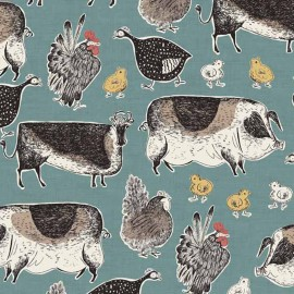 Tissu coton Makower UK Home Grown Animals - Bleu x 10cm