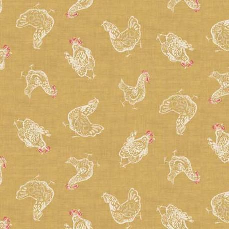 Tissu coton Makower UK Home Grown Hens - Jaune x 10cm