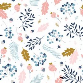 Makower UK cotton fabric Pine Cream - White x 10cm