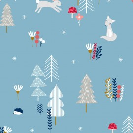 Makower UK cotton fabric Forest Talk - Blue x 32cm