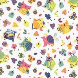 Cotton fabric Timeless Treasures Fun Owls - White x 15cm