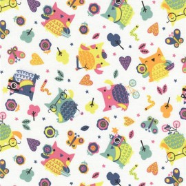 Tissu coton Timeless Treasures  Fun Owls- Blanc x 15cm