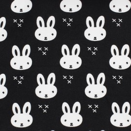 Jersey fabric Petit lapin - black x 10 cm