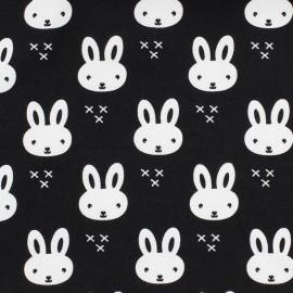 Tissu Jersey Petit lapin - noir x 10 cm