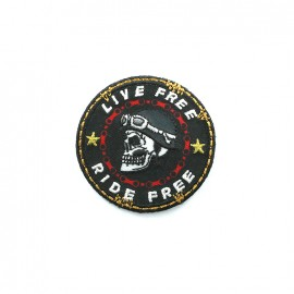 Biker Embroidered iron-on patch - black round