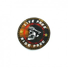 Biker Embroidered iron-on patch - orange round