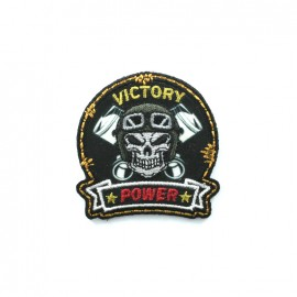 Biker Embroidered iron-on patch - victory black