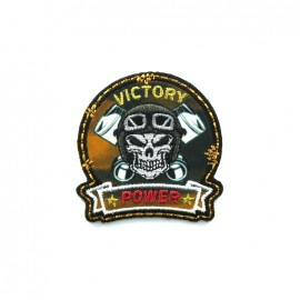 Biker Embroidered iron-on patch - victory orange