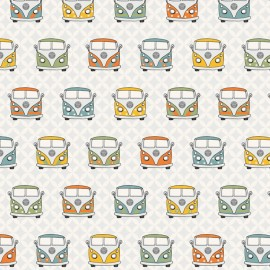 Cotton canvas fabric VW Summer vans retro - white x 23cm