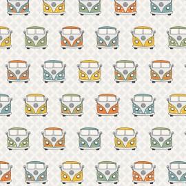 Tissu toile coton VW Summer vans retro - blanc x 23cm