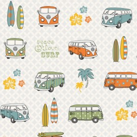 Cotton canvas fabric VW Summer retro - white x 40cm