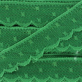Ribbon Scalloped Lace Point d'esprit - green x 1m