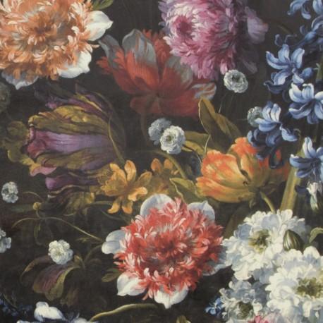 Tissu velours fluide impression digitale - Flower x 64cm