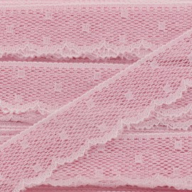 Ribbon Scalloped Lace Point d'esprit - dragée pink x 1m
