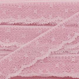 Ruban Dentelle festonnée Point d'esprit - Rose dragée x 1m