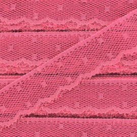 Ribbon Scalloped Lace Point d'esprit -  fushia pink x 1m