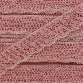 Ribbon Scalloped Lace Point d'esprit - peach pink x 1m