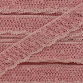 Ruban Dentelle festonnée Point d'esprit - rose pêche x 1m